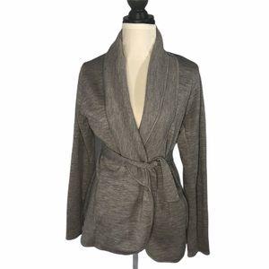 BCBGMAXAZRIA Grey Tie Cardigan Size M